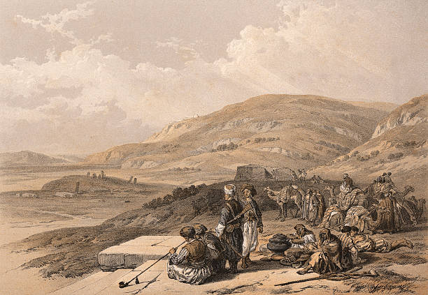 Jacob's well at Shechem (Palestine, today Israel). Ca. 1845.